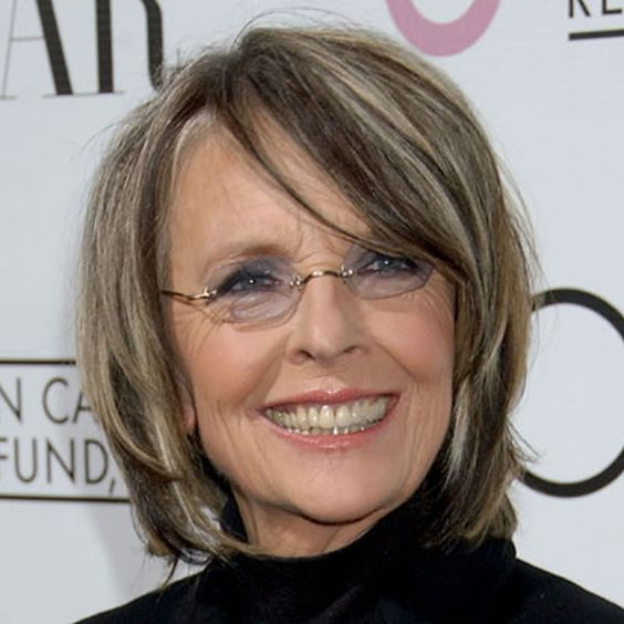 chin length hairstyle for older women with glasses