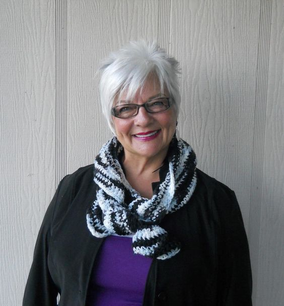 Cute Short Shag Haircut Style For Women Over 60 With Grey