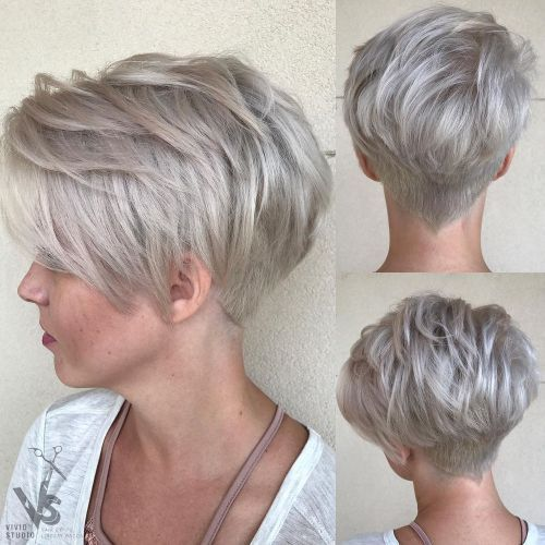 modern short wedge haircut for over 60 women