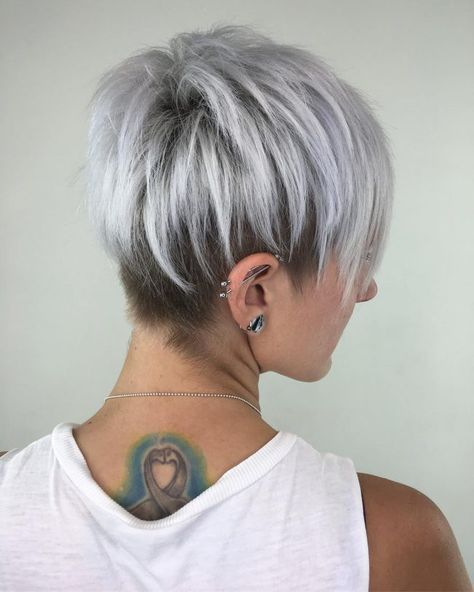 pretty silver colored stacked pixie haircut