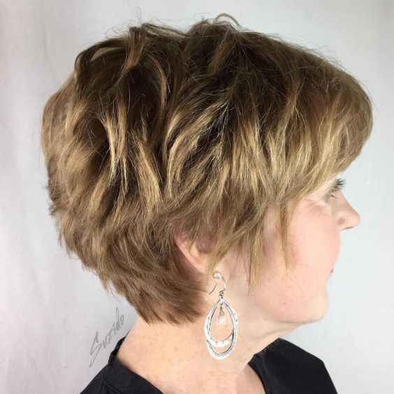 short layered wedge hairstyle for women over 60 with thick hair