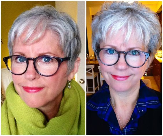 9 Most beautiful Short Hairstyles for Women with Grey Hair and Glasses short-pixie-hairstyle-for-older-women-with-grey-hair-and-glasses