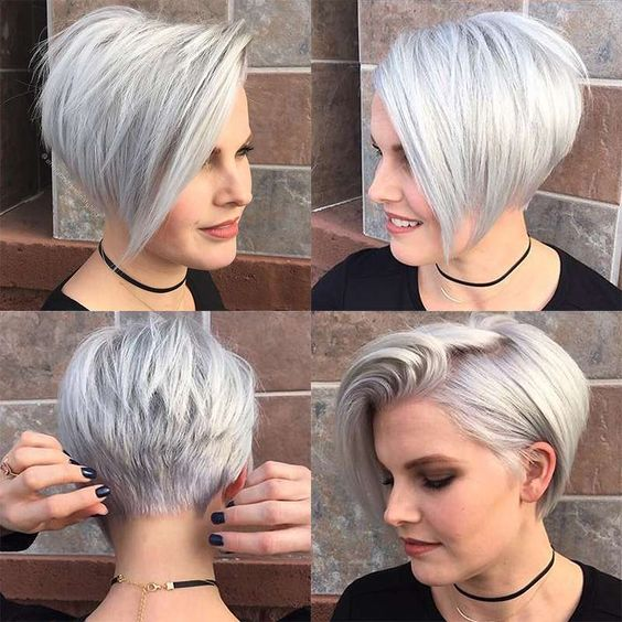 short stacked pixie with long bangs