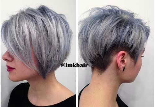 silver short stacked pixie haircut for cute women
