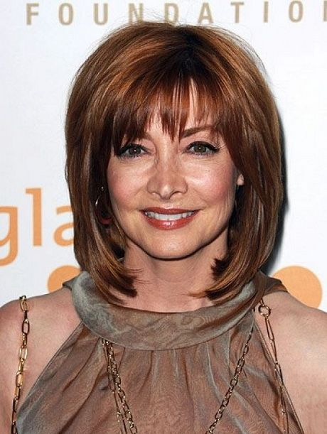 sleek shaggy haircut for women over 50