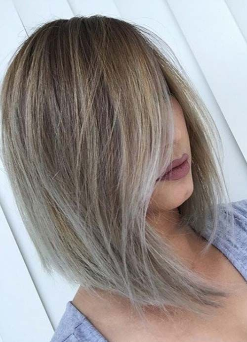 unique asymmetrical bob haircut style for women with thick hair