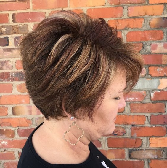 women over 60 with layered wedge haircut