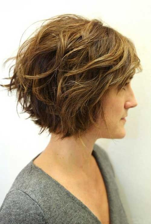 awesome messy bob hairstyle for older women with curly hair
