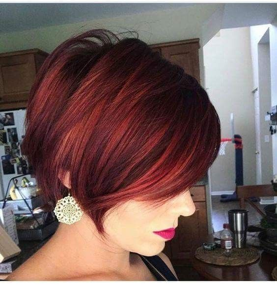 awesome pastel burgundy color on choppy haircut