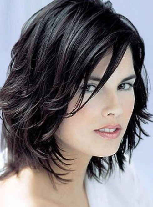 beautiful black layered bob hairstyle with soft a line