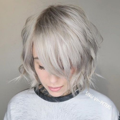 beautiful choppy bob hairstyle with layers and bangs