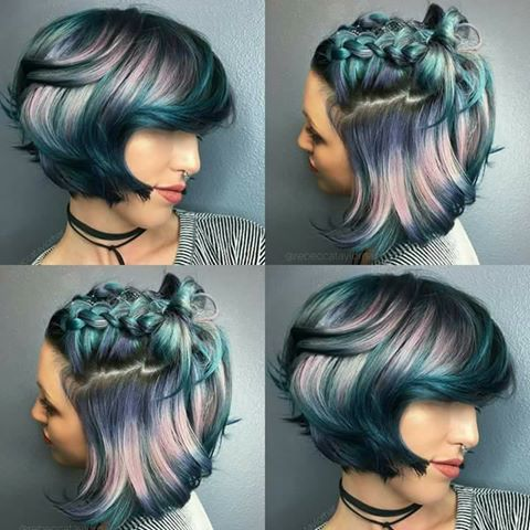 cute colored short sassy haircut for women