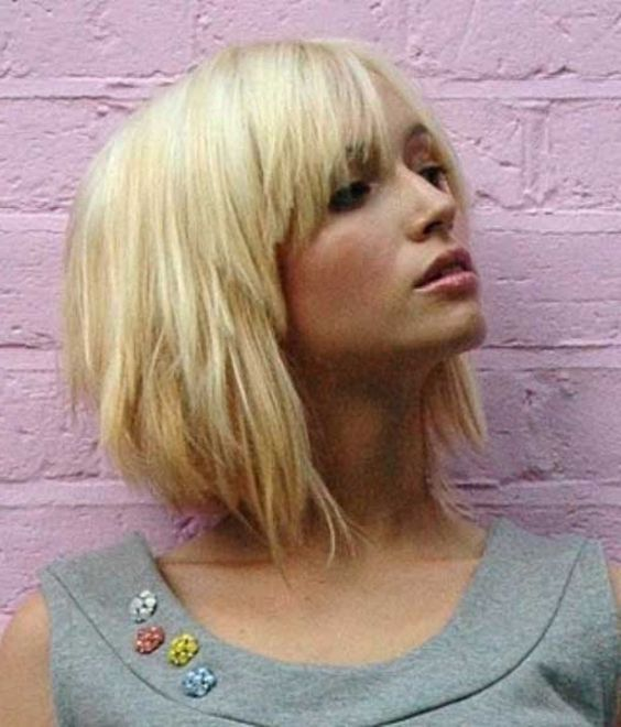 edgy choppy layers bob hairstyle with bangs