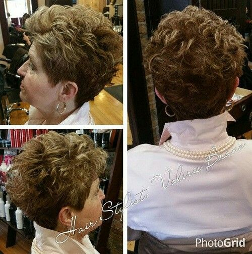 modern short curly haircut for women over 50 years old