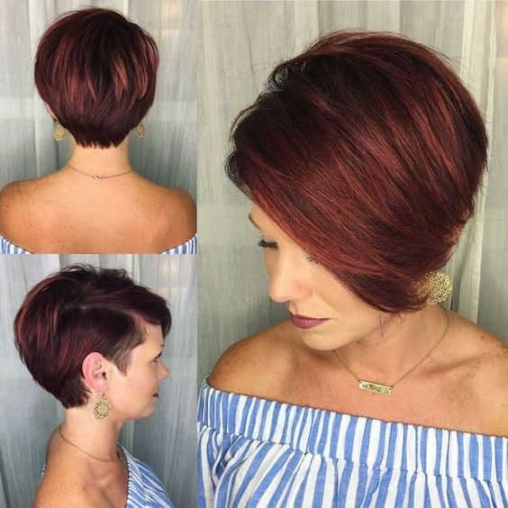pretty looking choppy haircut with pastel burgundy that look awesome with older women