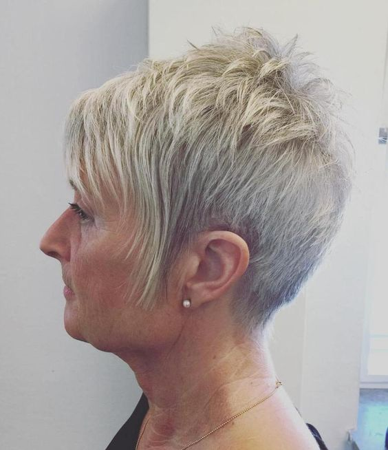 pretty looking teased choppy hairstyle for women over 60