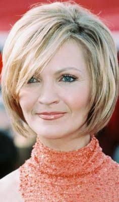pretty straight haircut with chopped layers for older women