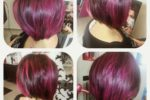 Pretty Two Toned Burgundy Pastel Haircut Ideas For Women Over 60
