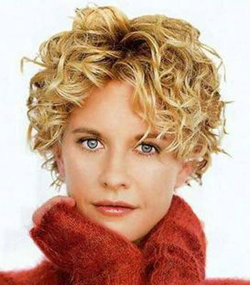 short blonde curly haircut with bangs for over 50 women