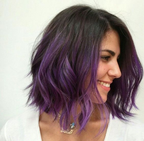 trendy-and-modern-wavy-purple-ombre-hairstyle-for-women trendy-and-modern-wavy-purple-ombre-hairstyle-for-women