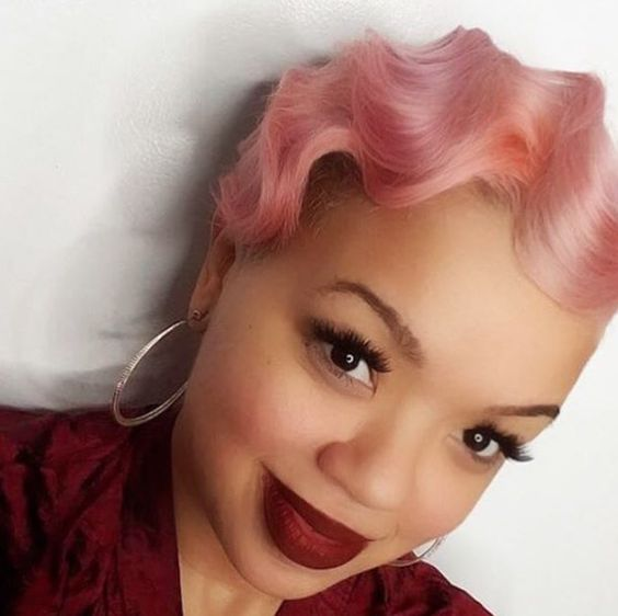 Fun, Pinched Neon Pink Wave Hairdo 2