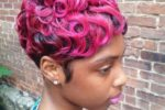 Fun, Pinched Neon Pink Wave Hairdo 4