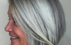 45 Short Hairstyles for Grey Hair and Glasses that Make Older Women Still Looking Stylish layered_platinum_bob_3-235x150