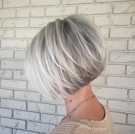 Silver Stacked Shaved Hair Style 1