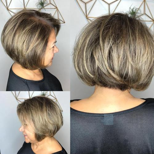 Side Parted Blonde Bob Cut 2