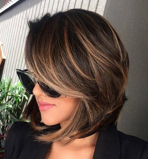 Brown A-Line Stacked Bob Style 4
