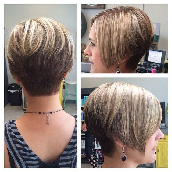Angled Short Wedge Haircuts for Women 3