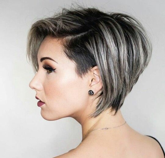 Silver Stacked Shaved Hair Style 5
