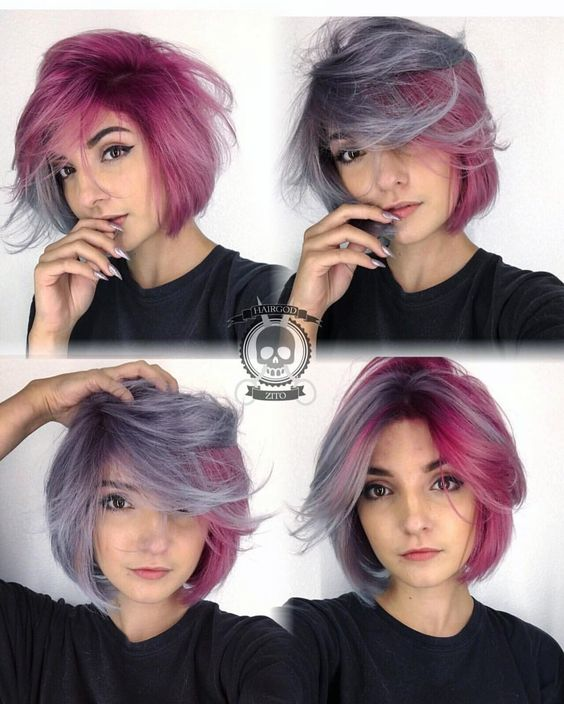 Pastel Pink and Purple Tousled Cut 5