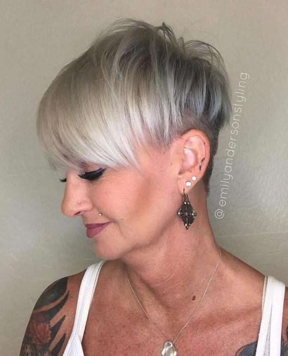 Super Edgy Pixie Hairstyle for Women Over 50 with Fine Hair 3