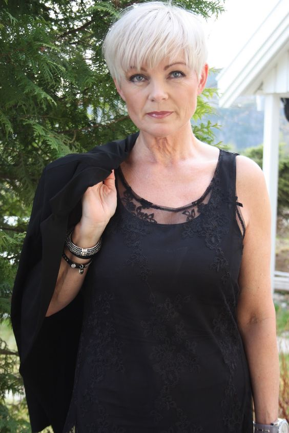 Super Edgy Pixie Hairstyle for Women Over 50 with Fine Hair 6