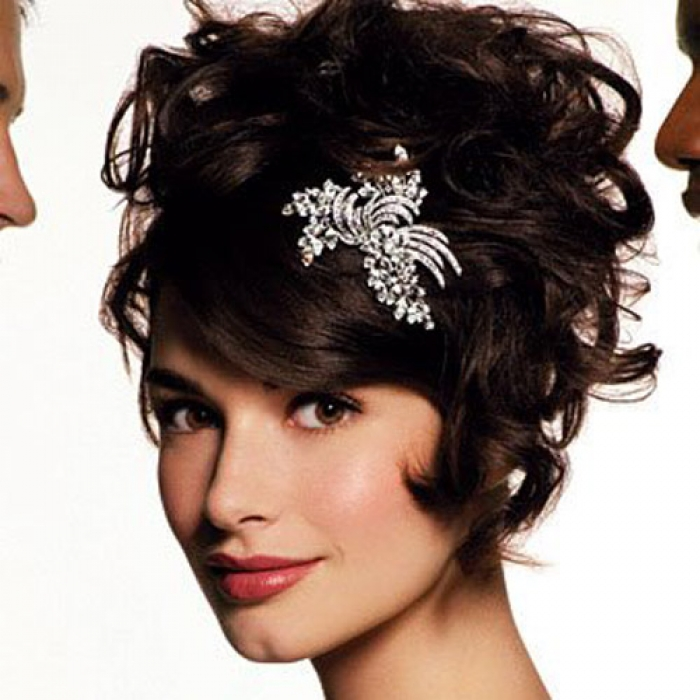 Beautiful Short Wedding Hairstyles with Tiara