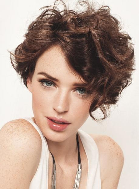 Trendy Short Curly Brown Haircuts