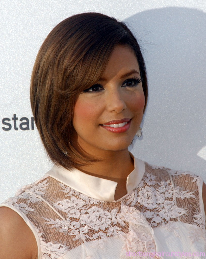 Eva Longoria Inverted Bob Hairstyles for Fine Hair