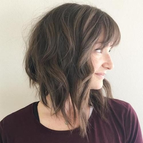 20 Stunning Short Angled Bob Hairstyles for Older Women (Updated 2021) Wavy-angled-bob-with-bangs