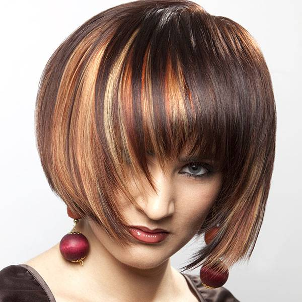 short hairstyles brown hair highlights