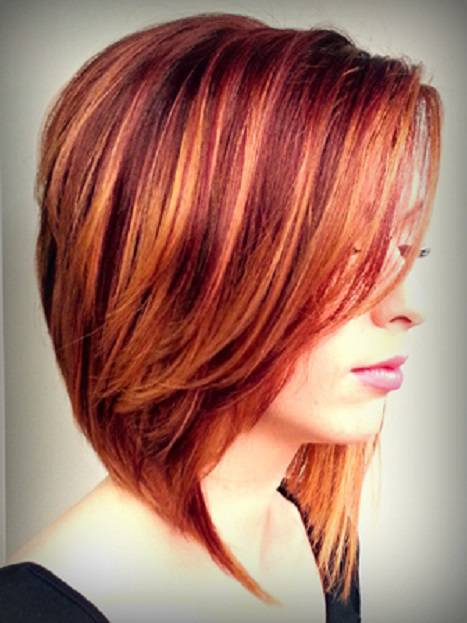 short hairstyles with red and blonde highlights