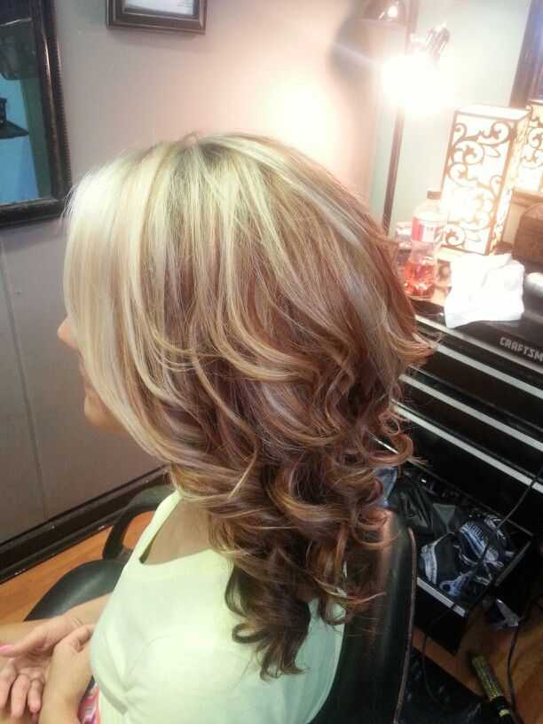 short haircuts with red and blonde highlights