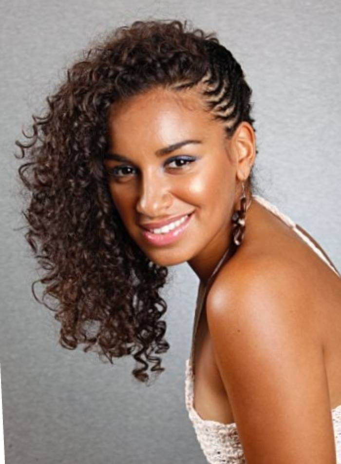 short curly weave hairstyles with braids