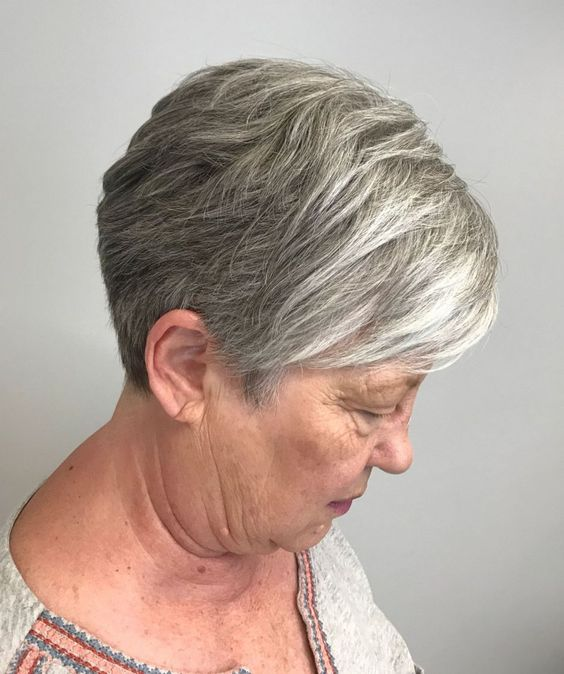 Gray wedge haircuts for older women 1