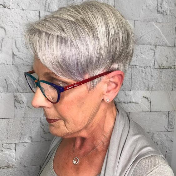 Gray wedge haircuts for older women 4