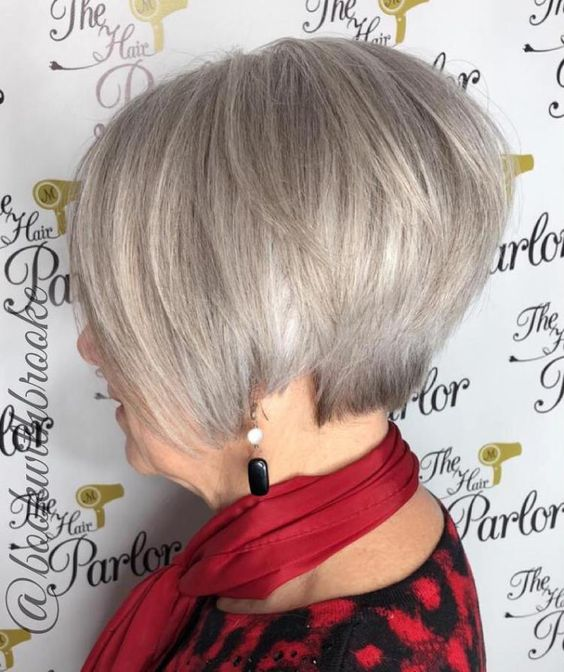 Gray wedge haircuts for older women 3