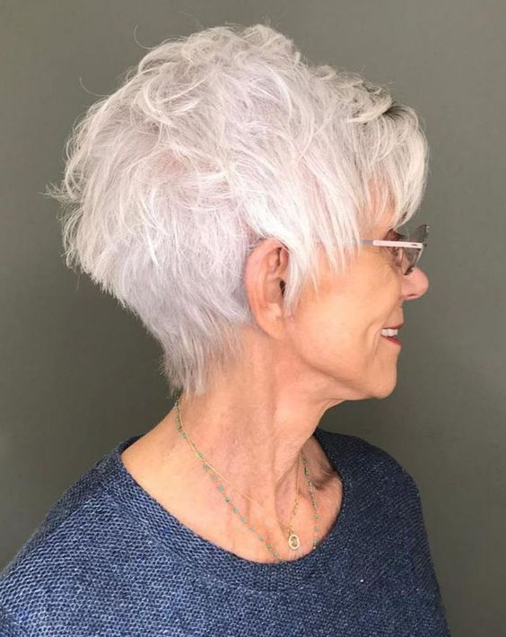 Gray wedge haircuts for older women 6