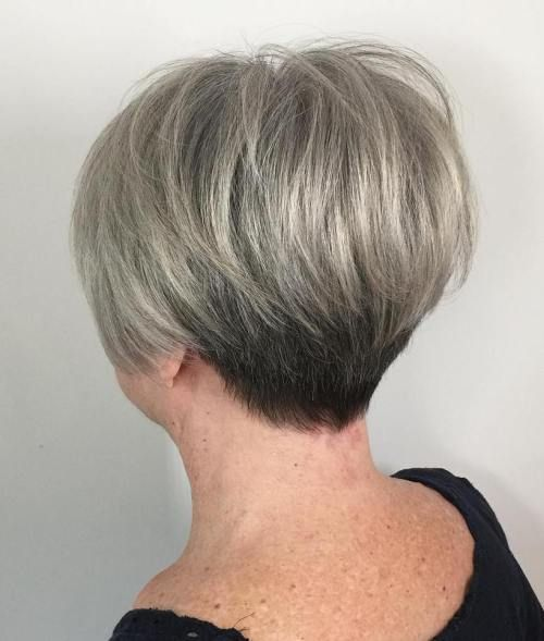 Gray wedge haircuts for older women 7
