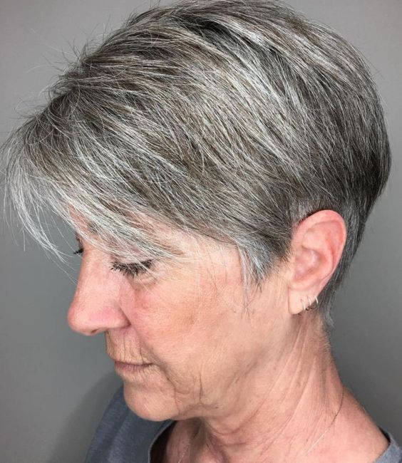 Gray wedge haircuts for older women 9