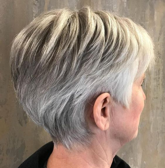 Gray wedge haircuts for older women 10